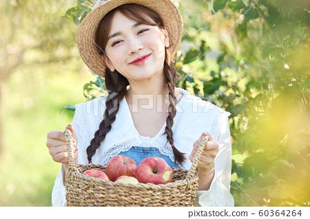 農業女性生活方式蘋果 60364264