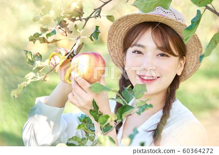 農業女性生活方式蘋果 60364272