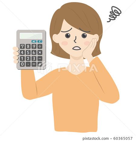 有計算器的女性 60365057