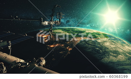 Detailed of ISS orbiting realistic planet Earth 60368199