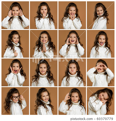 collage of portraits of little girl with different emotions 60370779