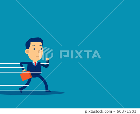 Businessman being held back by rope. Concept 60371503