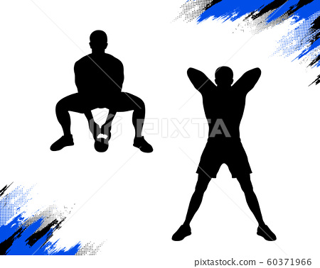 Silhouette of a male, who is doing kettlebell sumo deadlift crossfit exercise. Vector illustration isolated on white. 60371966