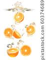 Oranges fruits dropped into water splash on white 60374689