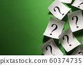 Side border of scattered question marks on small white cards  60374735
