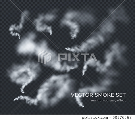 Vector smoke. A set of different realistic insulated transparent effects of smoke. The real effect of transparency 60376368