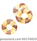 Watercolor chocolate cookies on white background. 60376820
