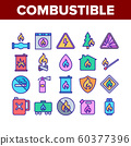Combustible Products Collection Icons Set Vector 60377396