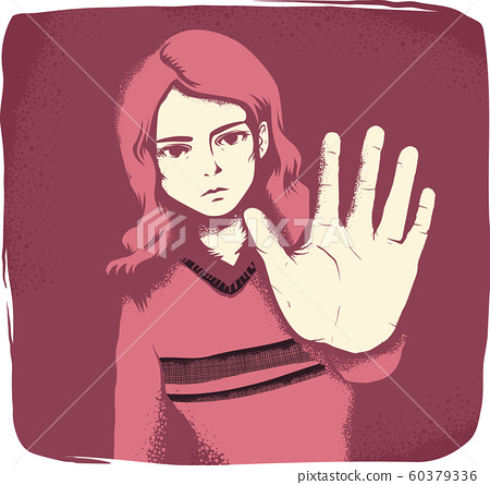Girl Hand Stop Sign Illustration 60379336