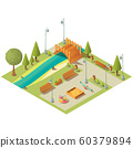 Isometric landscape of city park with playground 60379894