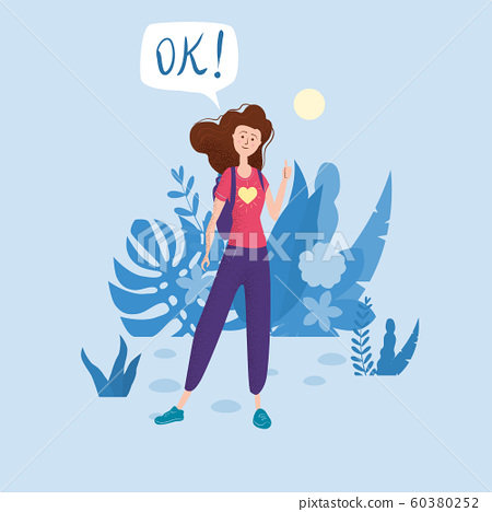 Happy teenage girl with thumb up. Student with backpack bubble OK. Vector trendy flat cartoon style, illustration. Floral background 60380252