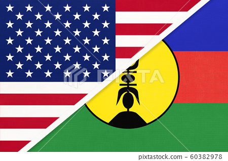 USA vs New Caledonia national flag from textile. 60382978