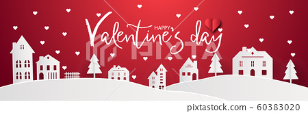 Happy Valentines day with home sweet home town 60383020