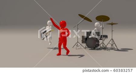 3d illustrator group of musician symbols on gray 60383257