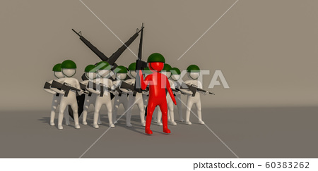 3d illustrator soldier symbol on gray background, 60383262