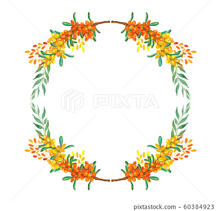 Frame with branches and buckthorn berries, 60384923