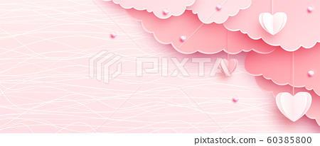 Pink banner background in papercut realistic style. Paper clouds, heart on string, pearls, light line texture. Love party invitation template 60385800
