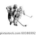 Hockey player. Hand drawn sketch. Winter sport 60386992
