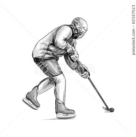 Hockey player. Hand drawn sketch. Winter sport 60387023