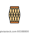 Indian musical drum, Mridangam, Dholak flat color line icon. 60388800
