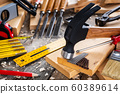 Carpenter's work tools. Carpentry. 60389614