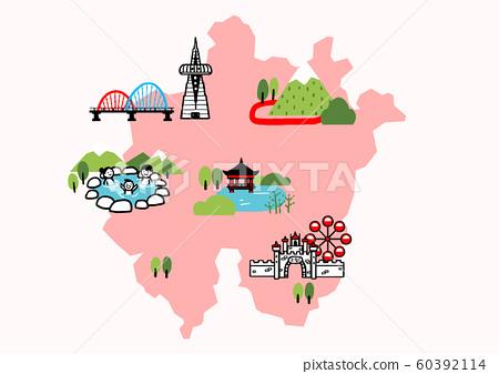 Korea travel map attraction tourism symbol illustration 009 60392114
