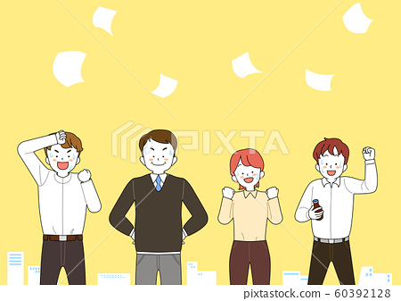 Group of people raising arms, cheering, celebrating cartoon illustration 009 60392128
