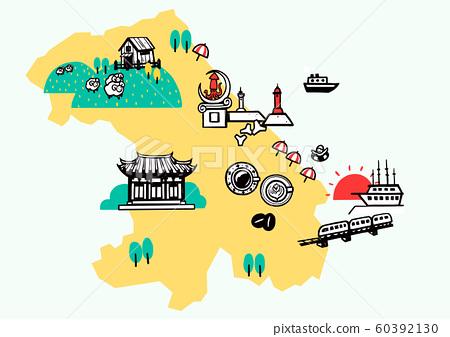 Korea travel map attraction tourism symbol illustration 007 60392130