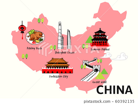 World travel map attraction tourist symbols sightseeing illustration 006 60392135