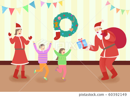 Happy family enjoying in winter vacations together illustration 009 60392149