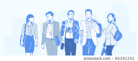 Teamwork, business people working office corporate team concept illustration 009 60392282