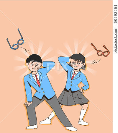 Happy students teenagers cartoon character illustration 009 60392361
