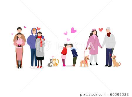 Cheerful People say hi, greeting card illustration 004 60392388