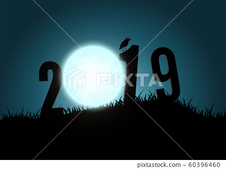 Silhouette of numbers 2019 mountains with moon. 60396460