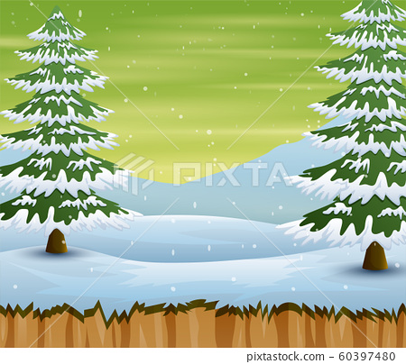 Winter season with snow covered trees and field 60397480