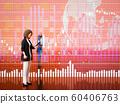 股票價格圖表和女性 60406763