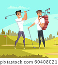Friends playing golf flat illustration 60408021