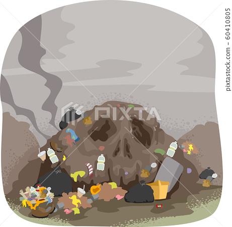 Skull Land Pollution Illustration 60410805