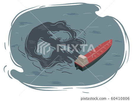 Industrial Impact Oil Spill Illustration 60410806