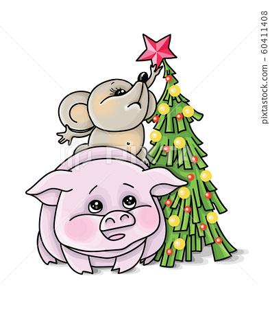 Vector illustration christmas tree mouse, boar, zodiac 60411408
