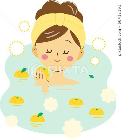 女人享受柚子柚的氣味 60412191