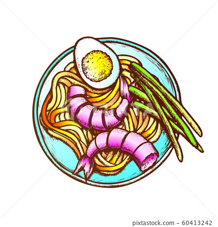 Noodles With Shrimp Egg And Green Onion Ink Vector 60413242