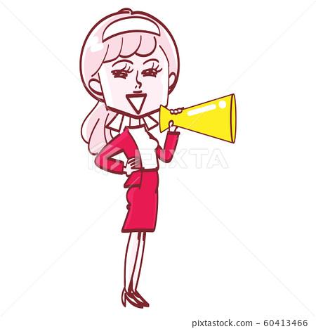 一個女人用擴音器 60413466