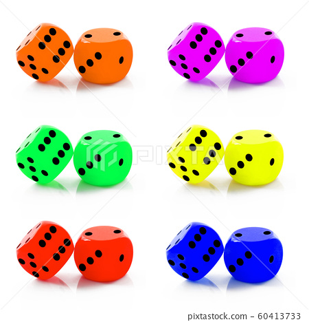 dice collage in white background 60413733
