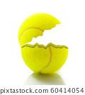 cut tennis ball in white background 60414054