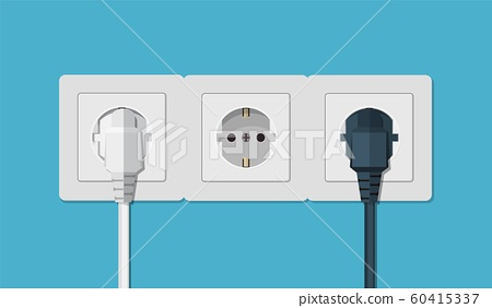 Electrical outlet and hand with plug. 60415337
