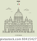 St. Peter's Basilica in Rome, Italy. Landmark icon 60415427