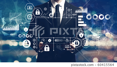 Cyber security theme with businessman holding a tablet 60415564