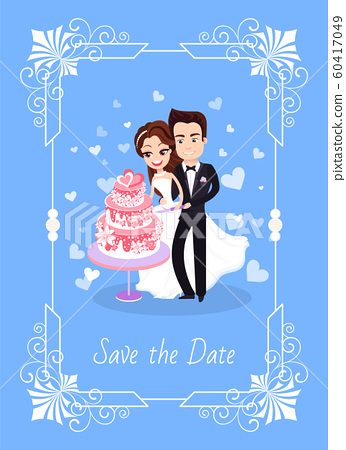 Groom and Bride Cutting Cake, Save Date Vector 60417049