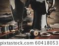 Antique sewing machine close up 60418053